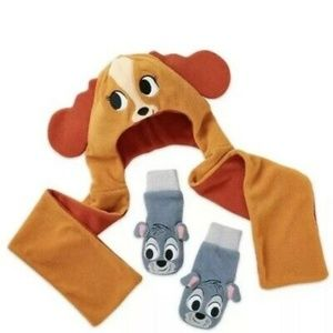 NEW Disney Lady and the Tramp Hat and Mitten Set